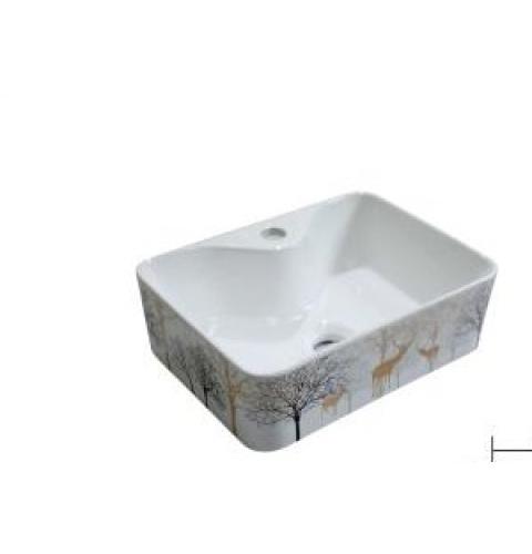 Lavabo gốm sứ nghệ thuật -họa tiết mùa đông -LI-214